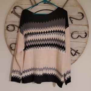 Pink and black & white sweater. Super soft acrylic